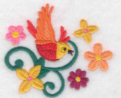 Embroidery Design: Bird vine flowers 3.01w X 2.62h