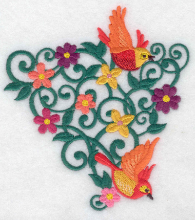 Embroidery Design: Birds triangle vine and flowers 4.58w X 4.99h