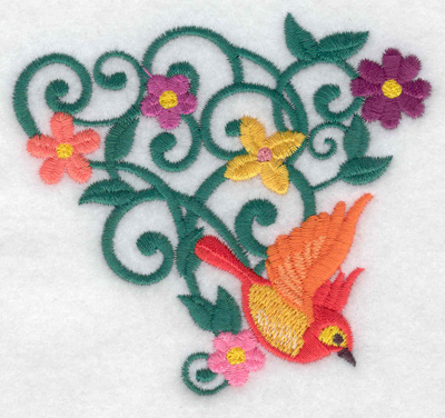Embroidery Design: Bird in flight vine and flowers 3.73w X 3.39h