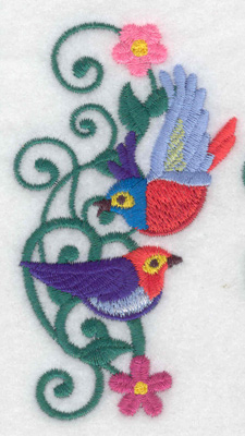 Embroidery Design: Bird duo 2.11w X 3.77h