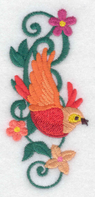 Embroidery Design: Bird orange 1.77w X 3.87h