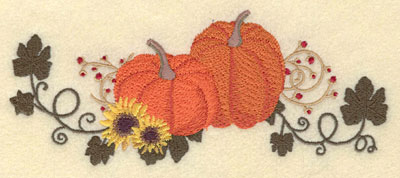 Embroidery Design: Pumpkins with Sunflowers Vines & Berries7.05w X 2.96h
