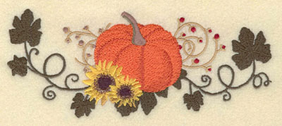 Embroidery Design: Pumpkin with Sunflowers Vines & Berries7.00w X 2.85h