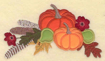 Embroidery Design: Appliques Pumpkins Pears, Corn Leaves  Feather Poppies7.08w X 4.02h