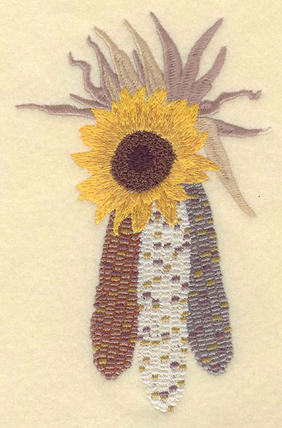 Embroidery Design: Corn with Sunflower4.43w X 6.96h