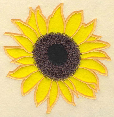 Embroidery Design: Sunflower with Double Applique7.01w X 6.92h