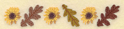 Embroidery Design: Sunflower with Oak Leaves Border5.70w X 1.07h