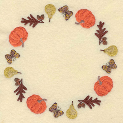 Embroidery Design: Sunflower oak leaf pumpkin butterfly and pear circular border7.01w X 7.01h
