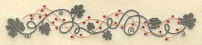 Embroidery Design: Leaf Vine and Berries Border7.51w X 1.43h