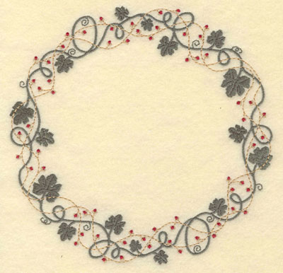 Embroidery Design: Leaf Vine and Berries Circular Border6.91w X 6.90h