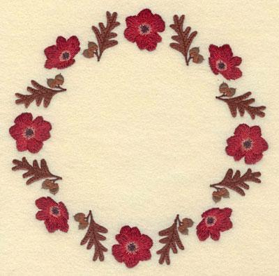 Embroidery Design: Poppy and Oak Leaf Circular Border6.99w X 6.99h