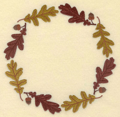 Embroidery Design: Oak Leaves with Acorns Circular Border7.01w X 7.01h