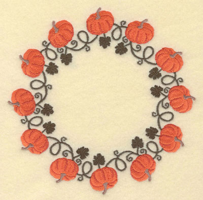 Embroidery Design: Pumpkins Leaves Vines Circular Border6.99w X 7.00h