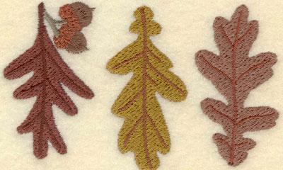 Embroidery Design: Three Oak Leaves3.78w X 2.32h