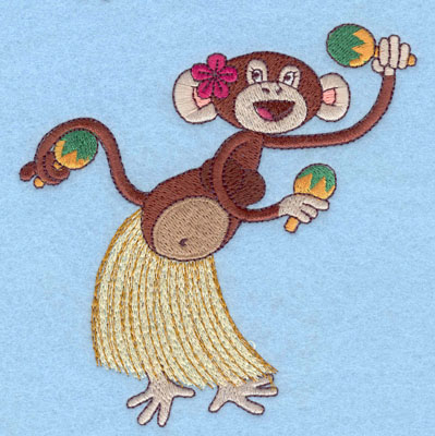 Embroidery Design: Monkey In Hula Skirt Large4.89w X 4.79h