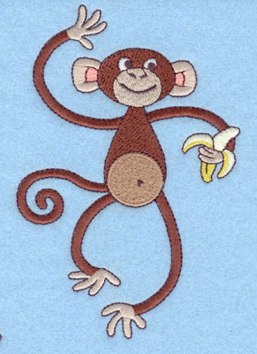 Embroidery Design: Monkey with Banana Large5.56h X 3.70w