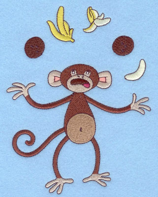 Embroidery Design: Monkey Juggling Large6.64h X 5.09w