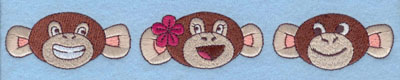 Embroidery Design: Three Monkey Faces Large1.24h X 8.34w