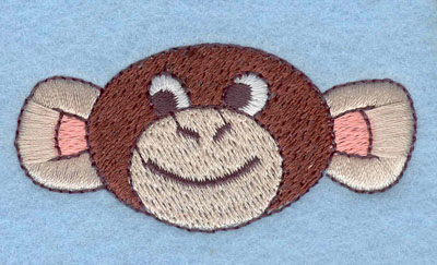 Embroidery Design: Monkey Face with Smile Large1.22h X 2.59w