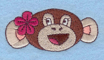 Embroidery Design: Monkey Face Girl Large1.23h X 2.64w