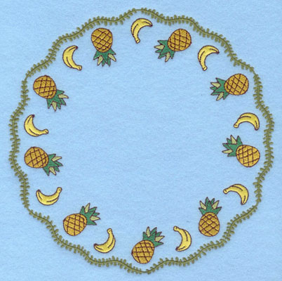 Embroidery Design: Circle Vine Bananas and Pineapples7.47h X 7.43w