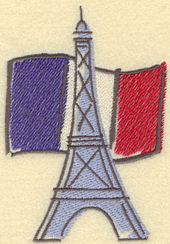 Embroidery Design: Eiffel Tower with French Flag Large3.31w X 4.77h