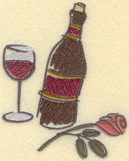 Embroidery Design: Wine Bottle Wine Glass Rose Small3.57w X 4.30h