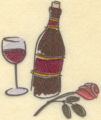 Embroidery Design: Wine Bottle Wine Glass Rose Large4.63w X 5.59h