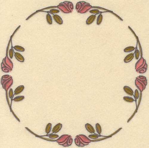 Embroidery Design: Rose Circle Small5.94w X 6.74h