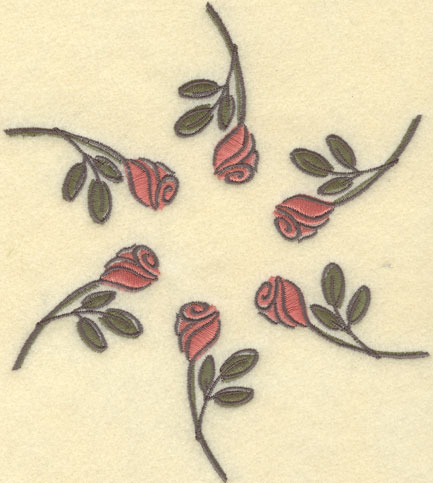 Embroidery Design: Rose Circle Large7.86w X 7.86h