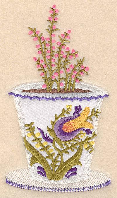 """Embroidery Design: Flower pot A applique 2.85""""w X 5.00""""h"""
