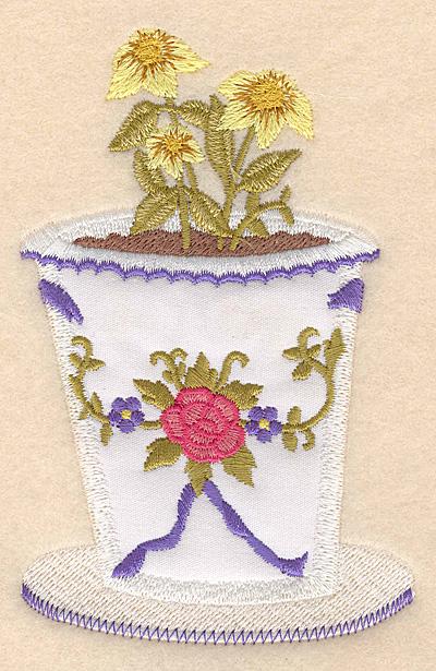 """Embroidery Design: Flower pot B applique 3.19""""w X 5.00""""h"""
