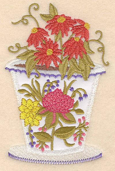 """Embroidery Design: Flower pot C applique 3.25""""w X 5.00""""h"""