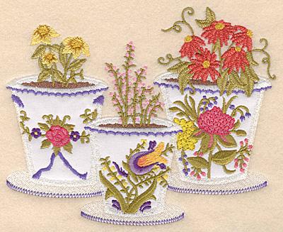 "Embroidery Design: Flower pot trio applique 6.22""w X 5.00""h"