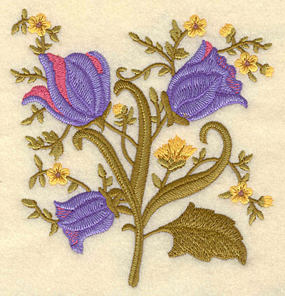 """Embroidery Design: Flowers A 4.73""""w X 5.00""""h"""