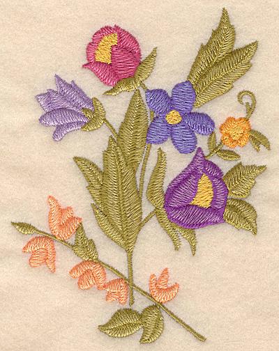 "Embroidery Design: Floral bouquet large 3.82""w X 5.00""h"