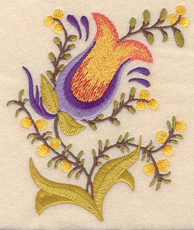 """Embroidery Design: Flower C 4.11""""w X 5.00""""h"""