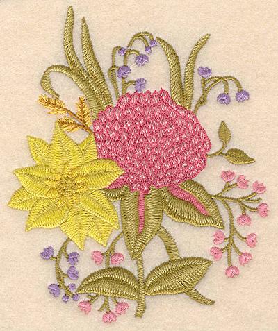 """Embroidery Design: Floral arrangement 4.07""""w X 5.00""""h"""