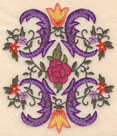 """Embroidery Design: Floral swirls large 4.23""""w X 5.00""""h"""
