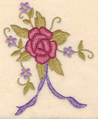 """Embroidery Design: Rose bouquet with ribbon 3.96""""w X 5.00""""h"""