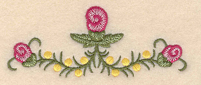 """Embroidery Design: Flowers E 3.90""""w X 1.60""""h"""
