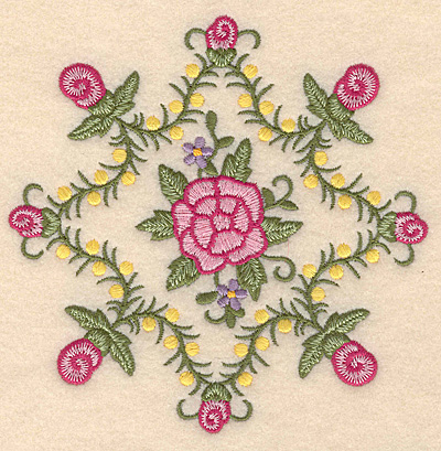 """Embroidery Design: Flowers F 5.00""""w X 5.00""""h"""