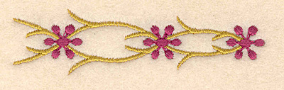"""Embroidery Design: Floral accent A 3.50""""w X 0.94""""h"""