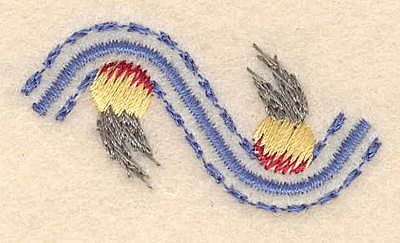 """Embroidery Design: Floral accent C 1.88""""w X 0.97""""h"""