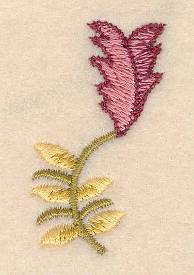 """Embroidery Design: Floral accent D 1.02""""w X 1.78""""h"""
