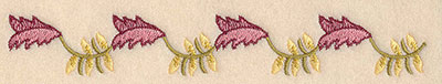 """Embroidery Design: Floral border D 1.02""""w X 1.78""""h"""