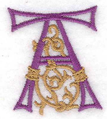 "Embroidery Design: Festive Alphabet A small 1.73""w X 2.05""h"