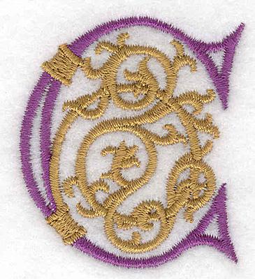 "Embroidery Design: Festive Alphabet C small 1.79""w X 2.03""h"