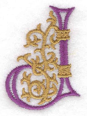 "Embroidery Design: Festive Alphabet J small 1.46""w X 2.02""h"