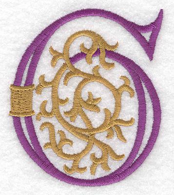 "Embroidery Design: Festive Alphabet G large 3.05""w X 3.55""h"